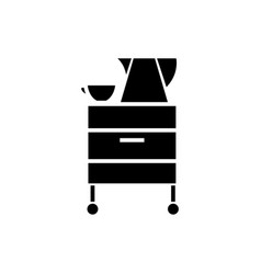 tea-cupboard icon black sign vector image
