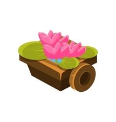 Wooden pot with water lilies isometric garden vector