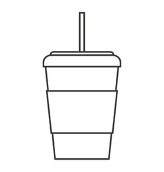 Glass drink with straw isolated icon vector