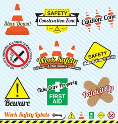 Work safety and construction labels vector