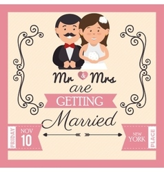 Pretty wedding card with bride groom design vector