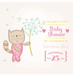 Baby girl cat holding flower - baby shower card vector