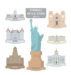 Symbols of us cities vector