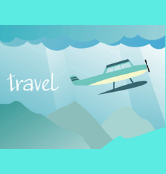 Aircraft flying in the sky over the mountains vector