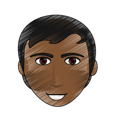 Color pencil cartoon front face man brunette with vector