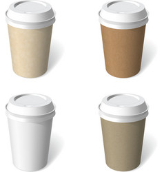 Paper cup blank template set vector