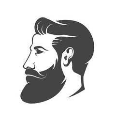 Gentleman head with beard and mustache isolated on vector
