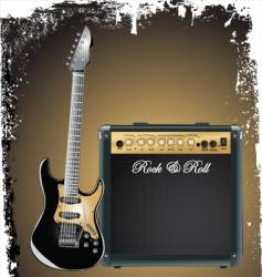 amplifier and guitar vector image