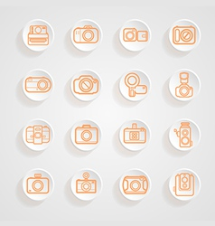 Button shadows camera icons set vector