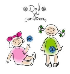 doll with flower vector image