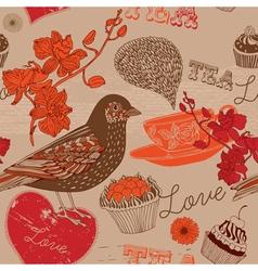 Bird and tea vector image