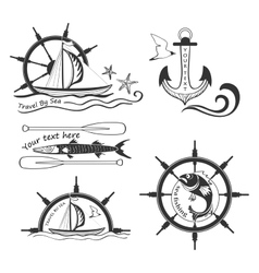 Labels marine theme hand drawing vector