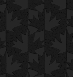 Black textured plastic maple leaves half and half vector