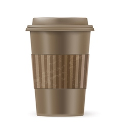 Brown cup of coffee vector