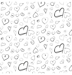 Heart ink imitation black seamless pattern vector