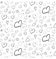 Heart ink imitation black seamless pattern vector image