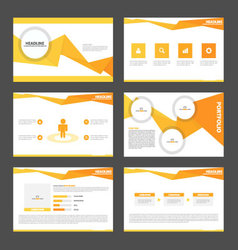 Orange presentation templates infographic set vector