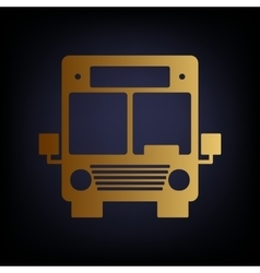 Bus sign golden style icon vector