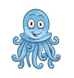 Cartoon blue jellyfish for sea life design vector image