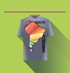 Abstract silver shirt with south america vector image
