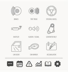 Accumulator brakes and steering wheel icons vector