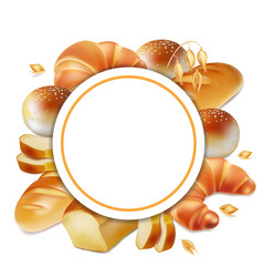 Baker logo bread realistic label 3d vector