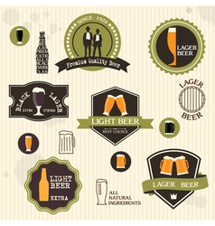 Beer badges and labels in vintage style design vector image vector image
