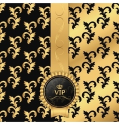 Black and gold background with vertical ribbon and vector