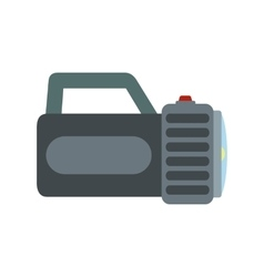 Black flashlight flat icon vector