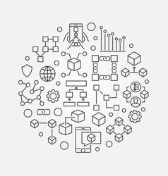 blockchain concept circular line symbol vector image vector image