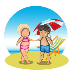 Cartoon couple on beach vector