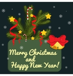 Christmas card with fir branches vector image