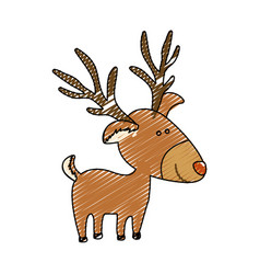 Color crayon stripe cartoon of reindeer stand vector