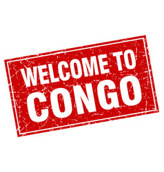 Congo red square grunge welcome to stamp vector