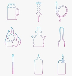 Contour gradient icons for hookah Accessories and vector image vector image