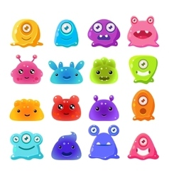 Cute Cartoon Jelly Monsters Set vector image vector image