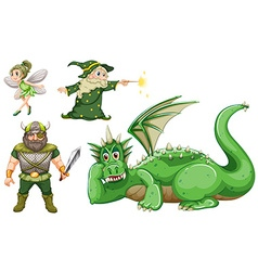 Fairy tale characters in green vector image