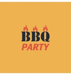 Flaming BBQ Party word design element vector image