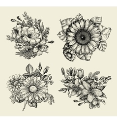 Flowers Hand drawn sketch flower floral pattern vector image