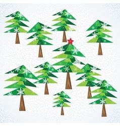 Green christmas fir trees background vector
