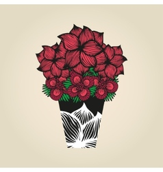 Hand drawn doodle flowers in tattoo style and vector image vector image