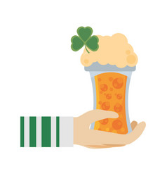 Hand leprechaun holding glass beer st patricks day vector