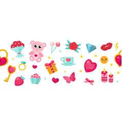 Happy valentine s day banner set of cute icons vector