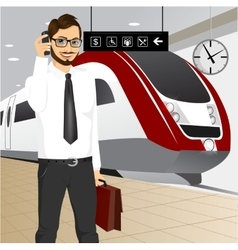 Hipster businessman waiting for the train vector