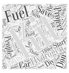 Hydrogen fuel boost kit fuel saver word cloud vector