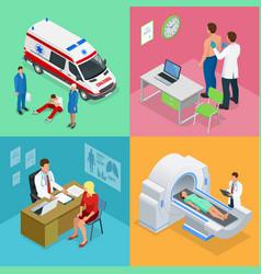 isometric paramedics ambulance team with ambulance vector image vector image
