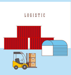 logistic warehouse containers and forklift boxes vector image