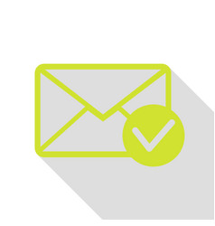 Mail sign with allow mark pear icon vector