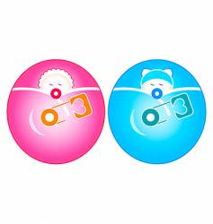 newborn baby girl and boy vector image