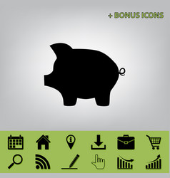 Pig money bank sign black icon at gray vector